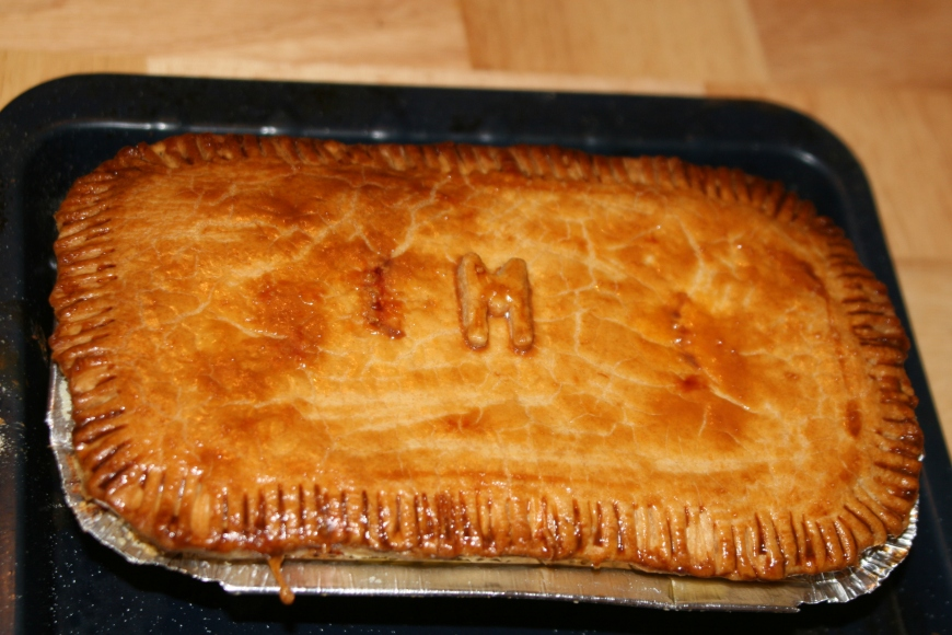 M is for mince and veg partner pie